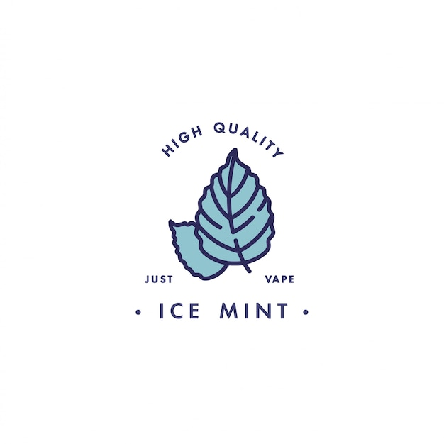 Design template logo and emblem - taste and liquid for vape - ice mint. logo in trendy linear style.
