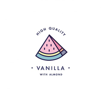 Design template logo and emblem - taste and liquid for vape - watermelon. logo in trendy linear style.