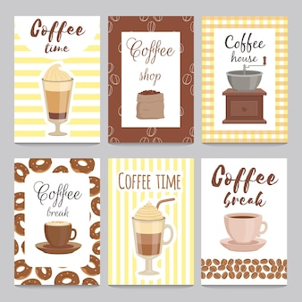 Design template of vintage cards for coffee shop.