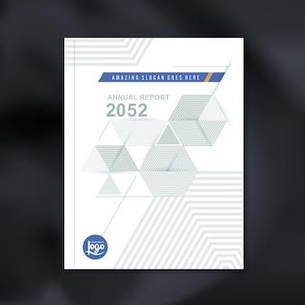 企業のビジネス年次報告書の本の表紙パンフレットチラシポスターの抽象的な六角形の立方体パターンの背景デザインのデザインテンプレート