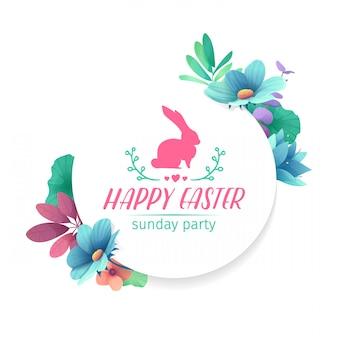 春の花飾り付きのデザインテンプレートです。植物、ハーブ、葉、小枝の装飾が施された円形のフレーム。ロゴとウサギ、花の要素とイースター休暇の招待状。