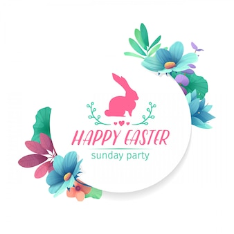 Design template with floral decoration for spring easter. the round frame with the decor of plants, herb, leaves, twigs. invitation for easter holiday with logo and rabbit, flower element.