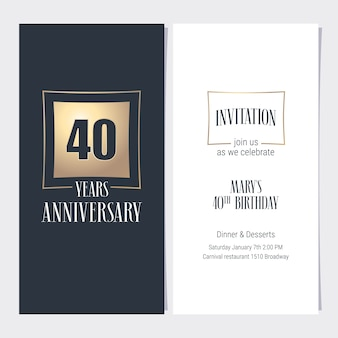 Design template with golden element for anniversary