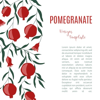 Design template with pomegranate fruits.