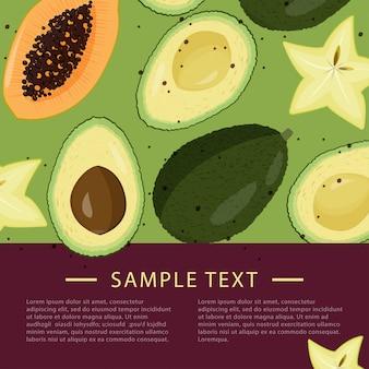 Шаблон оформления с кусочками фруктов. Premium векторы