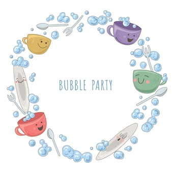 Design template with teapot, cups and bubbles Premium Vector