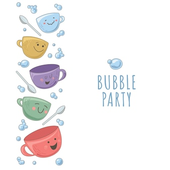 Design template with teapot, cups and bubbles