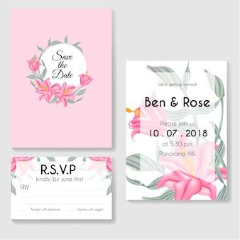 デザインテンプレートbotanical invitation card緑の葉とユリのピンクの花