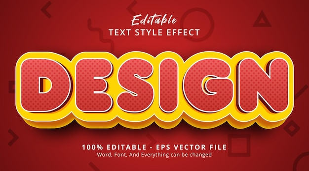 Design text on modern red gradient style effect, editable text effect