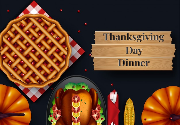 Design for thanksgiving dinner invitation. vector illustration