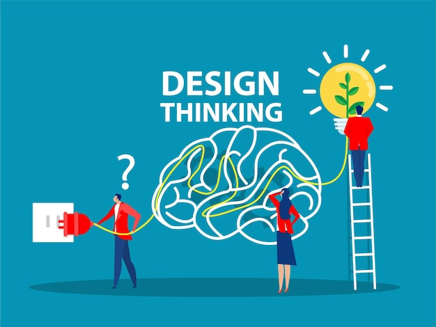 Концепция дизайн-мышления создание и внедрение бизнес-инноваций лампочка бизнес-идеи