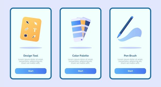 Инструмент для дизайна, цветовая палитра, кисть для мобильных приложений