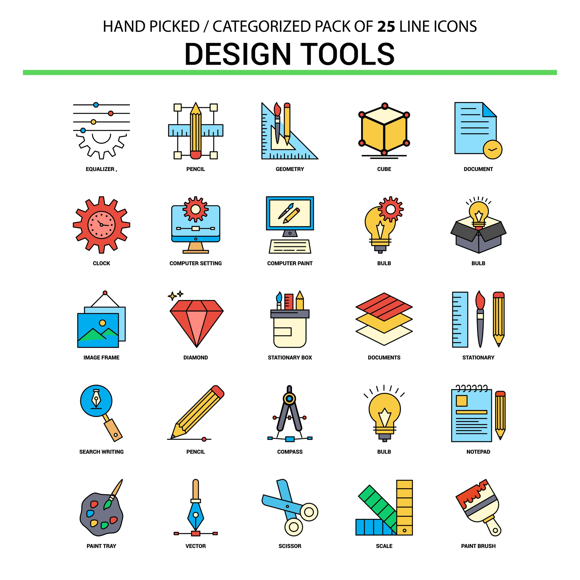 Design Tools Flat Line Icon Set