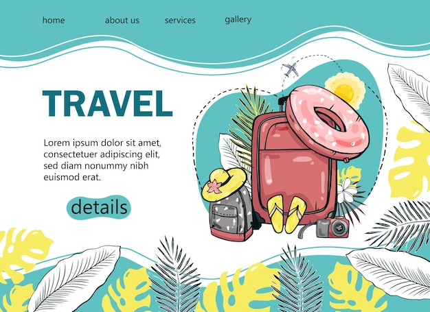 Design a tourist banner with a palm tree, sea, backpack, sun umbrella, airplane for a popular tourist blog, landing page or tourist website. hand-drawn  illustration.