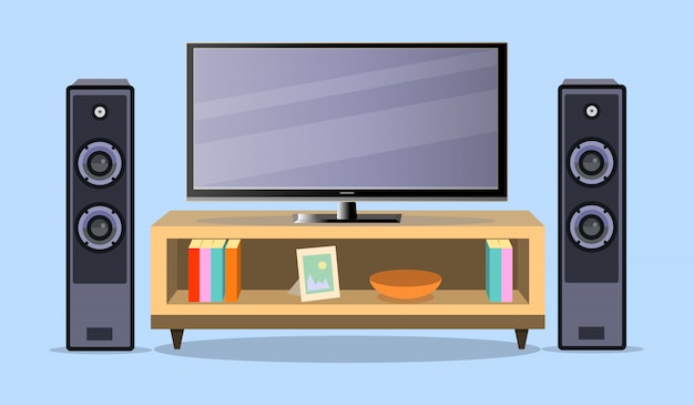 Design tv zone in a flat style.