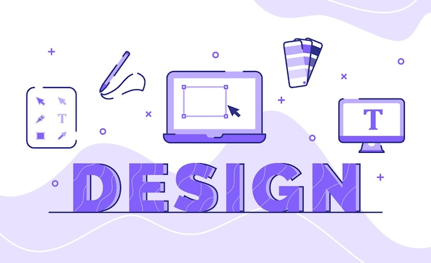 Design typography word art background of icon tool palette color drawn shape with outline style