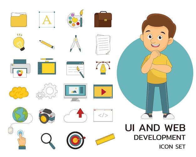 デザイン、ui、web開発のコンセプトフラットアイコン