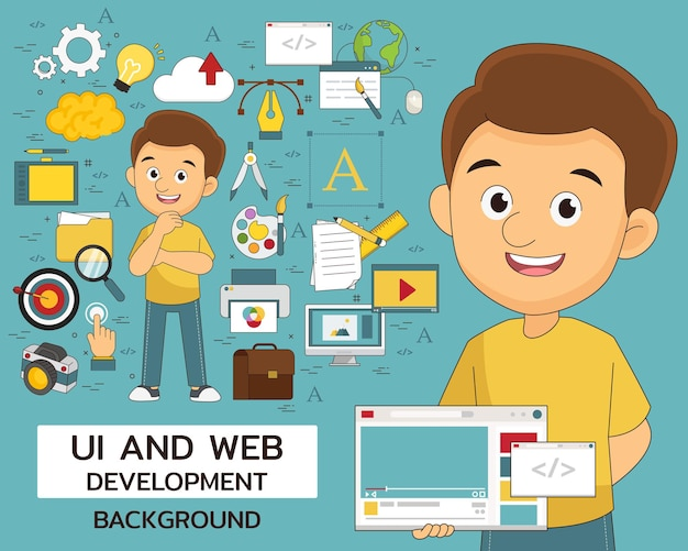 Design, ui and web development concept background. flat icons.