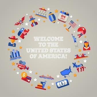 아이콘 디자인 미국 여행 엽서