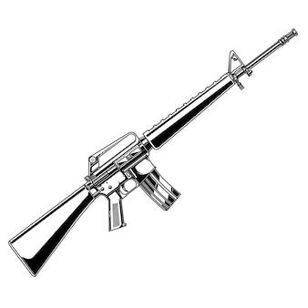 Дизайн вектор черный или белый пистолет m16 a1