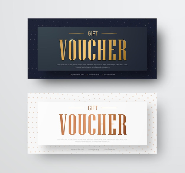 Design of a vector gift voucher with golden text and floating effect.