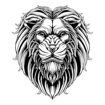 デザインベクトルライオンヘッド白黒バージョン