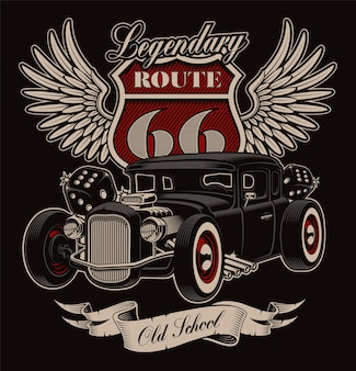 Design of vintage american hot rod on dark background. shirt design in rockabilly style.