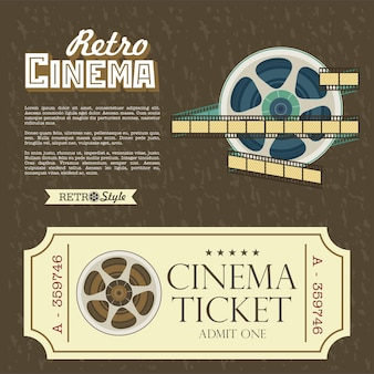 Design vintage cinema tickets. vector poster retro movie theater with place for text.