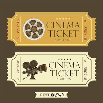 ヴィンテージ映画のチケットをデザインします。レトロシネマ。