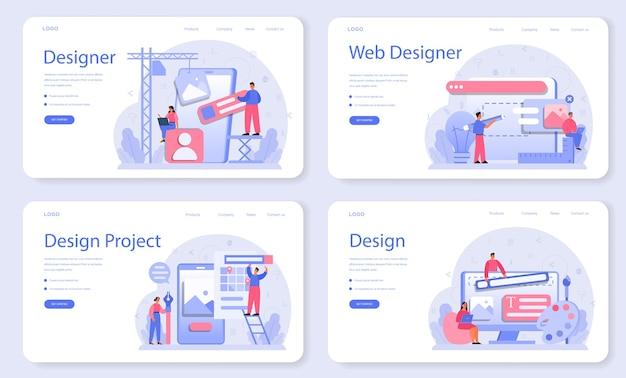 Дизайн веб-баннера или целевой страницы задать вектор иллюстрации