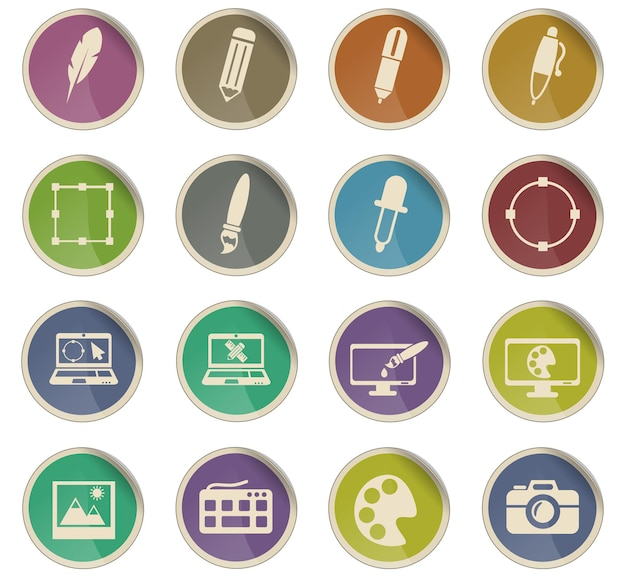 Design web icons in the form of round paper labels