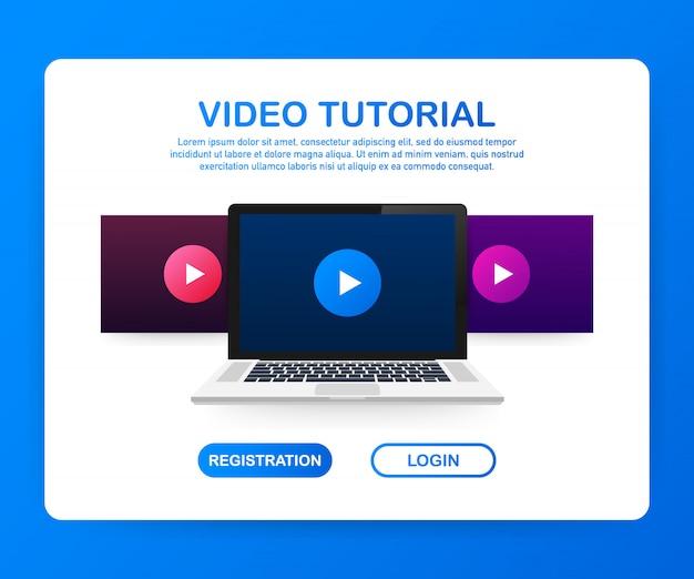 デザインウェブサイトフラットデザインコンセプトビデオチュートリアル。