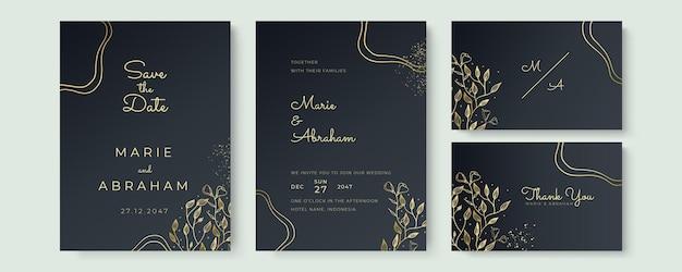 結婚式の招待状のテンプレートセットをデザインします。金色の花のテクスチャ要素と黒の背景に金色のフレームは手描きです