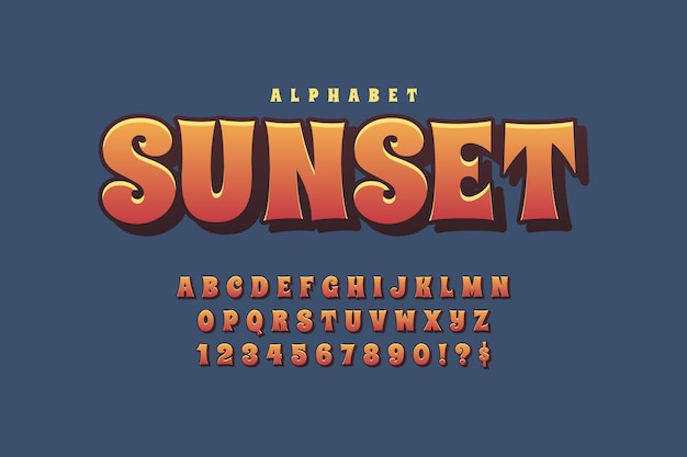 Design with 3d retro alphabet