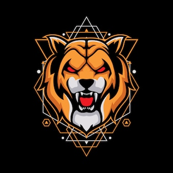 Design with angry tiger on geometry