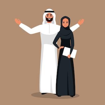 전통적인 의류 그림에서 만화 캐릭터 비즈니스 이슬람교도 사람들과 디자인. 남자와 여자의 아라비아 비즈니스 팀.