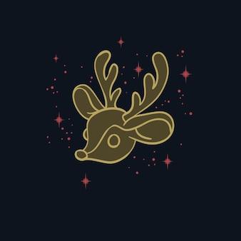 黒に分離された鹿とデザイン