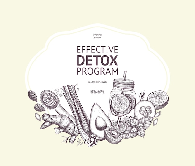 Design with hand drawn detox illustration. organic food sketch background. effective diet ingredients. vintage template