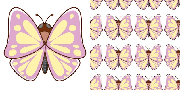 Design with seamless pattern beautiful butterfly