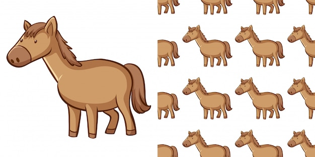 Design with seamless pattern brown horse