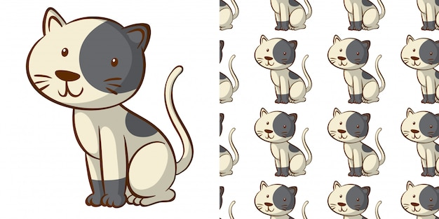 Design with seamless pattern cute cat