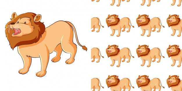 Design with seamless pattern cute lion