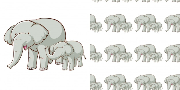 Design with seamless pattern gray elephant