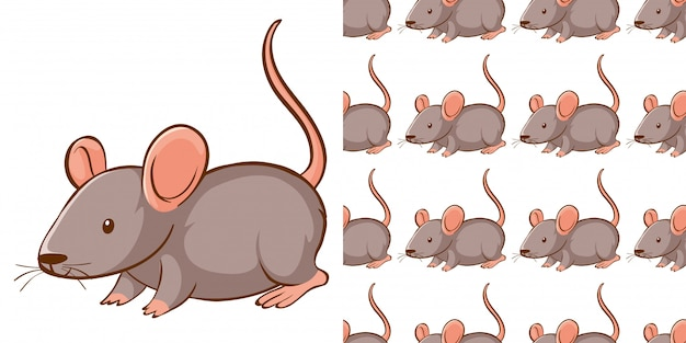 Design with seamless pattern gray rat Free Vector