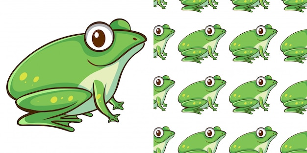 Design with seamless pattern green frog