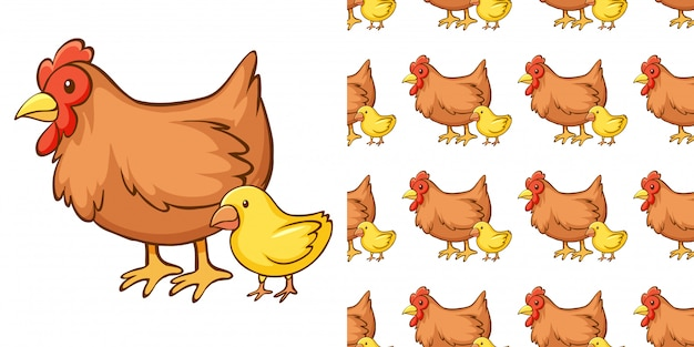 Design with seamless pattern hen and chick