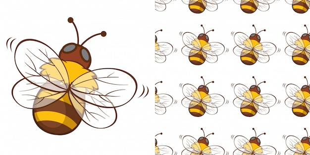 Design with seamless pattern honey bee