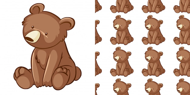 Design with seamless pattern little cub