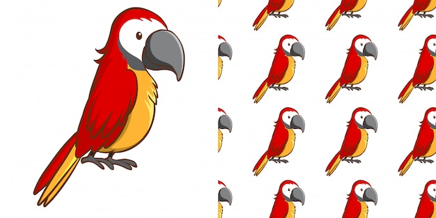 Design with seamless pattern red macaw