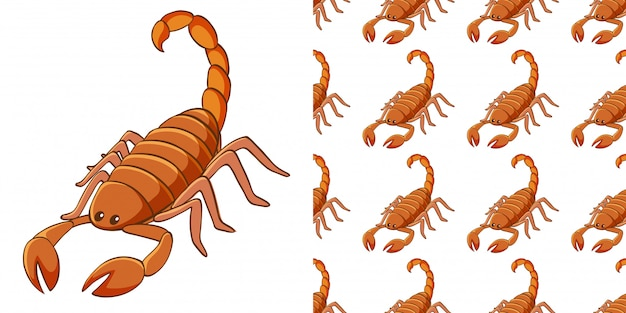 Design with seamless pattern scorpion